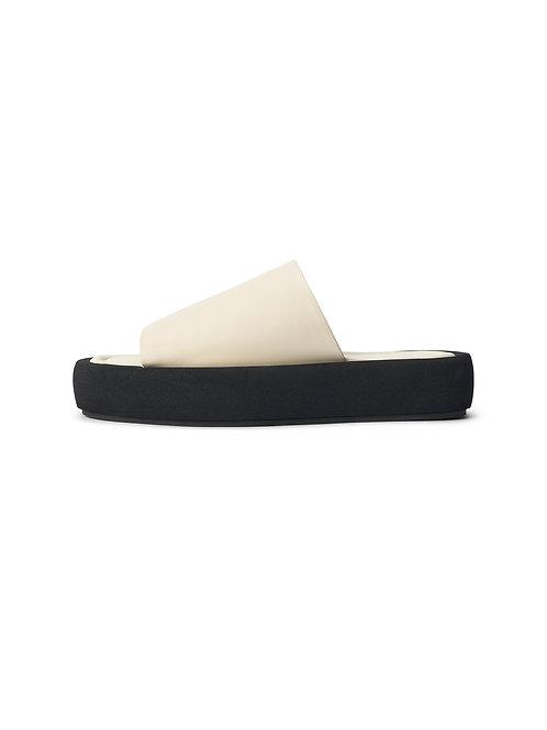 Siri leather slides-Soft White