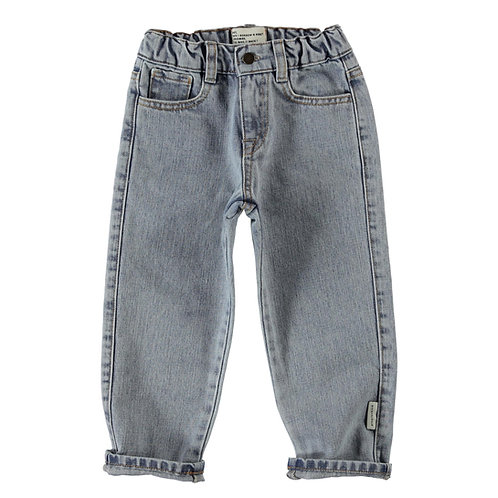 Unisex denim trousers washed light blue denim