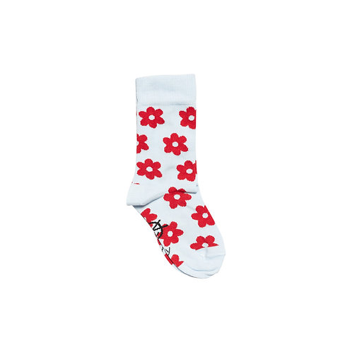 Daily Ankle Sock - Pale Blue / Red Flowers