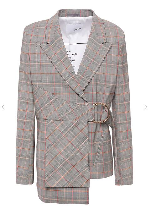 Belted Prince of Wales checked wool-blend blazer