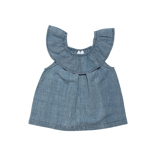 Flamenco Top - Bleached Indigo Stripe