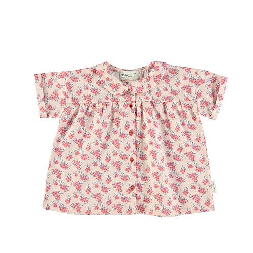 Peter Pan Shirt-Pale Pink Flowers