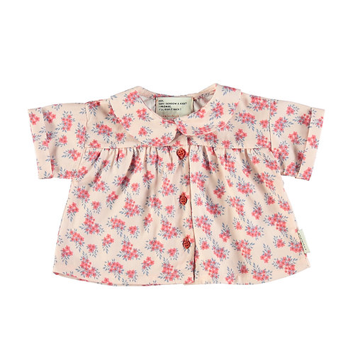 Baby Peter Pan Shirt-Pink Flowers