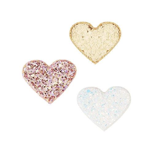 Sparkle love heart clips