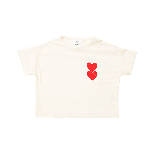 BABY TWIN HEART TEE OFF WHITE