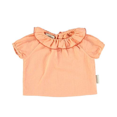 Baby Shirt Round Fringed Collar- Peach