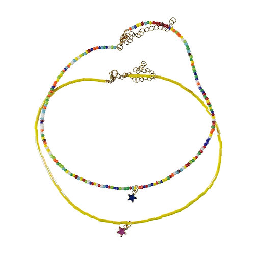 Necklace Colourful Beads with Star