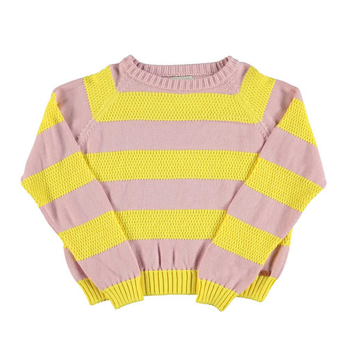 Knitted Sweater-Pink & Yellow stripes