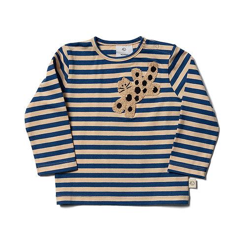 Baby Long Sleeve Tee - Buttermilk / Blue Cat