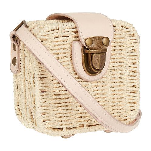Mini wicker basket cross body bag