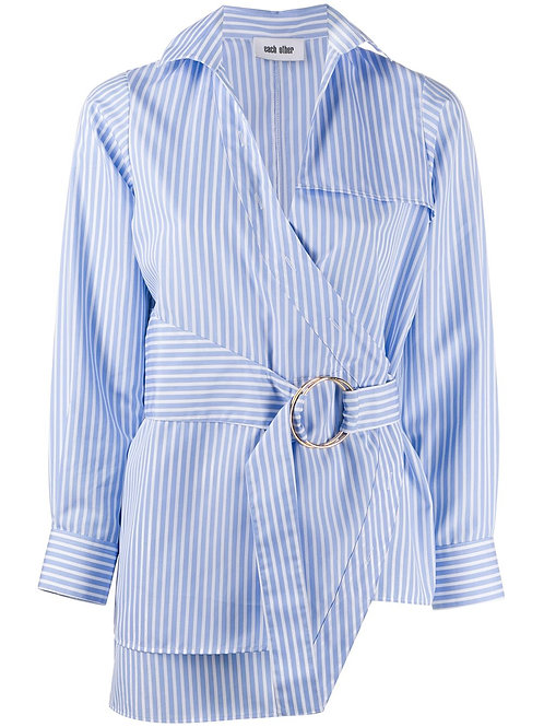 DE-CONSTRUCTED PIN STRIPES SHIRT