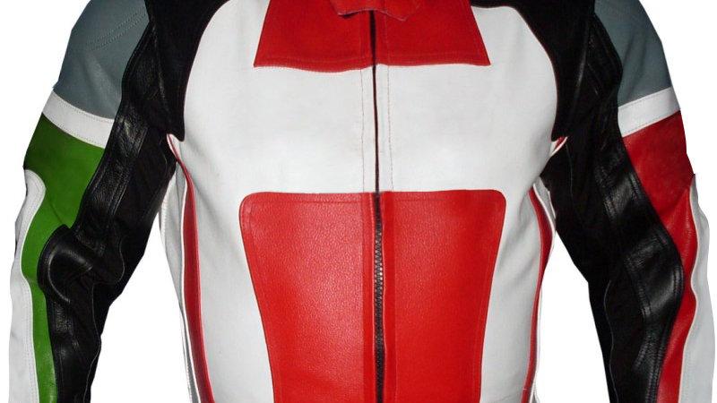 Black Red Biker Racing Leather Jacket