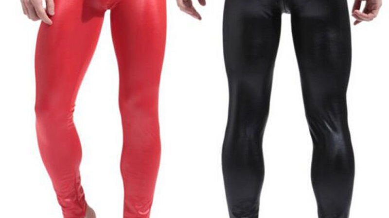 Mens Black/Red Faux Patent Leather Skinny  Pants PU  Stretch Leggings Sexy