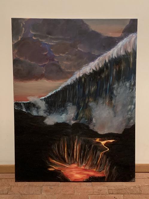 Tsunami at Live Volcano