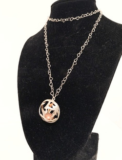 Sterling Silver/Copper Hollow Pendant Necklace