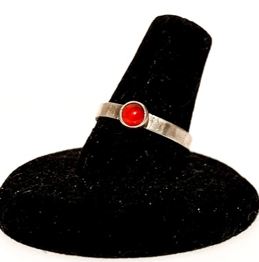 Sterling Silver Ring w/ Red Cabochon