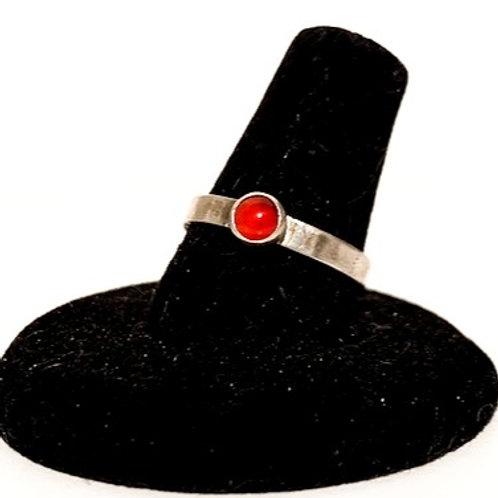 Sterling Silver/Red Cabochon Ring
