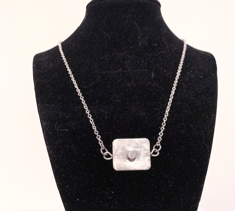 Sterling Silver/CZ Square Pendant Necklace