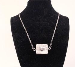 Sterling Silver/CZ Square Pendant Necklace