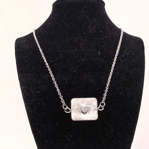 Sterling Silver/CZ Rectangle Pendant Necklace