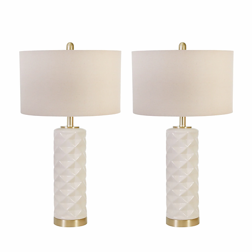 Set of 2 White and Gold Ceramic Lamps