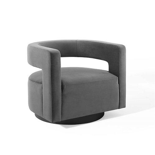 Spin Cutaway Performance Velvet Swivel Armchair in Gray