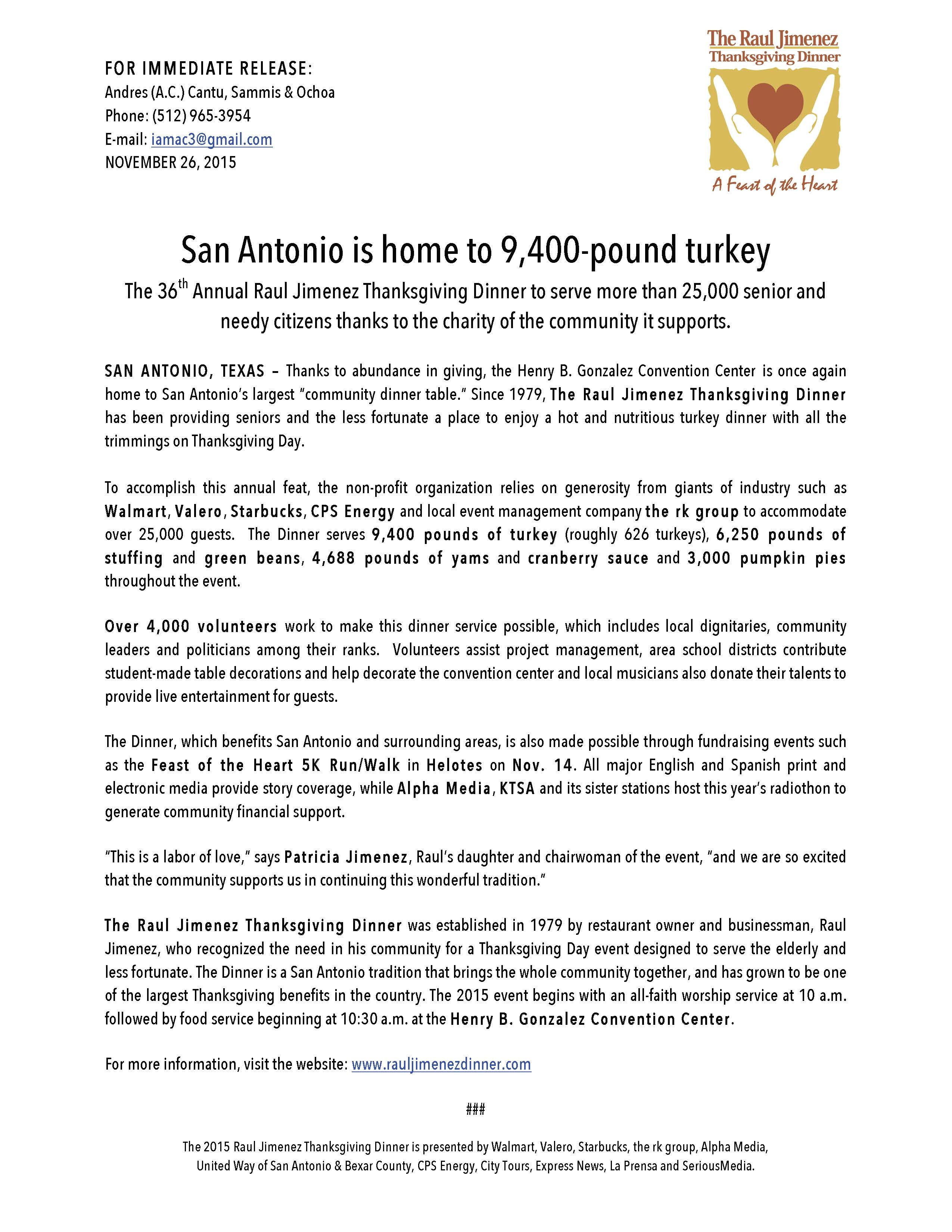 PRESS RELEASE_Raul Jimenez Thanksgiving