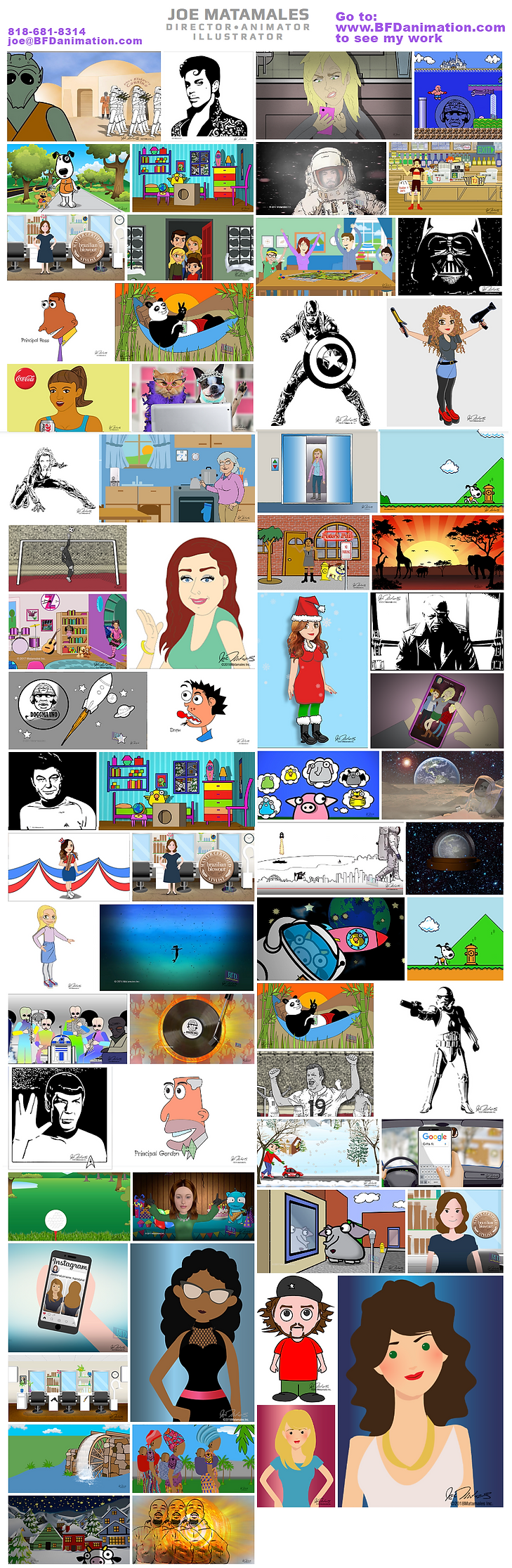 This is a collection of my Artwork. Some are hand-drawn while others are vector-based illustrations created in Adobe Illustrator BrainForest Digital is an Animation production studio. We have over 25 years of production experience. We do it all from script to finished video.  BFD Animation, BrainForest Digital, Joe Matamales, Cartoons, Character Design, Explainer Video, Corporate Video, Commercial, Film, Animation, Motion Graphics, Music Videos, 2D animation, Animator, Music Videos, Vector Art, animatic, Director, Animation Director, Social Media, trailer, design, video games, graphics, Mobile Content, Digital, Graphics Animation, Editing, Demo Reel, Preview, After Effects, Adobe Premiere, PhotoShop, motion comics, Music Videos,