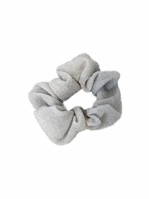 Scrunchie wit grijs Glitter