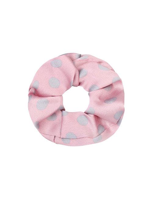 Scrunchie Satijn Dot Roze