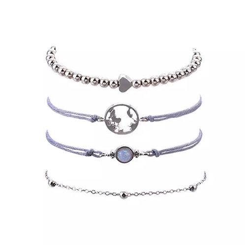 Armband set zilver kleur