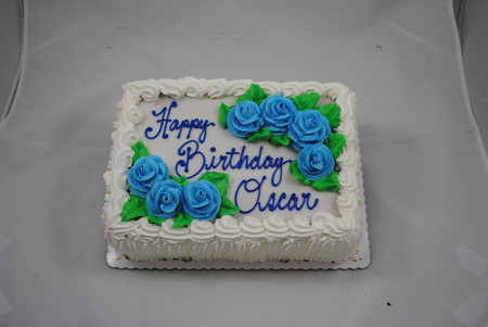 traditional sheet cake with blue butterc
