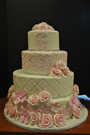 fondant flowers, quilted with pearls and