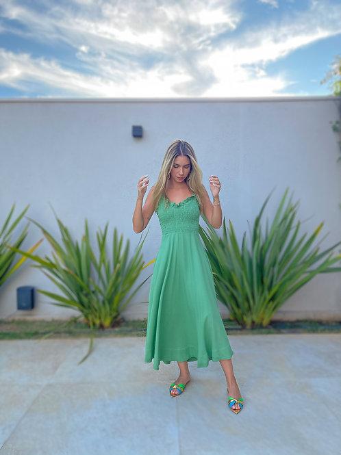 Frente do vestido linho rodado verde les cloches