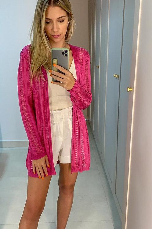 Frente do cardigan tricot furadinho rosa les cloches