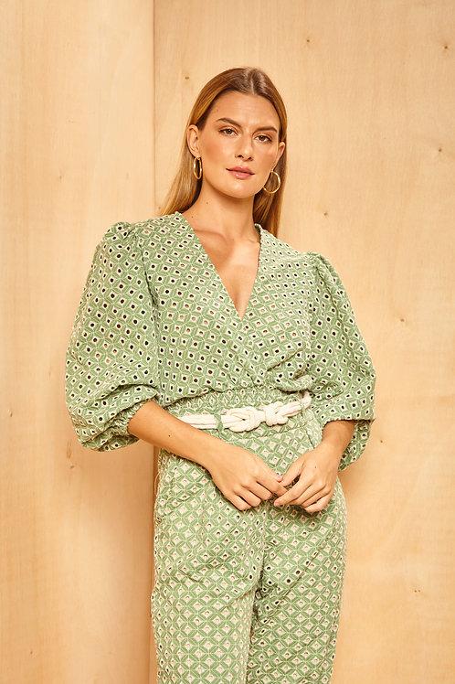 Frente da blusa laise marrocos verde les cloches
