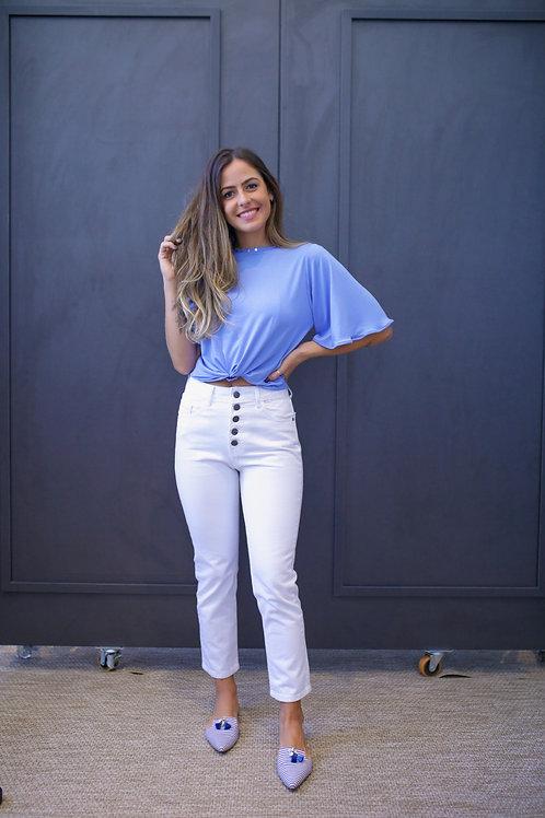 Frente da blusa rachel azul les cloches
