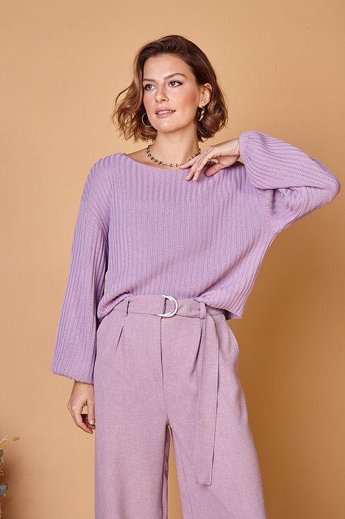 Frente da blusa tricot candy lilás les cloches