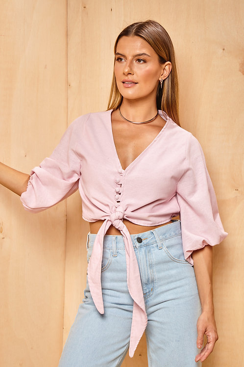 Frente da blusa santorini rosa les cloches