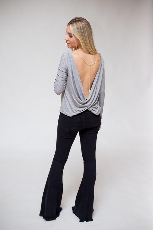 Costas da blusa decotada manga longa mescla com corrente les cloches