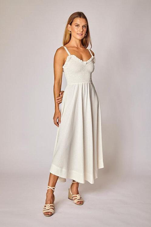 Frente do vestido linho rodado off white les cloches