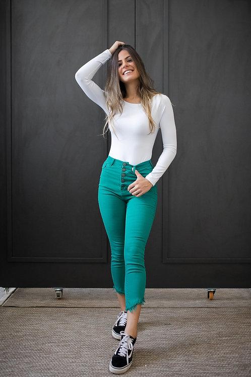 Frente da calça jeans skinny verde bandeira barra transversal les cloches