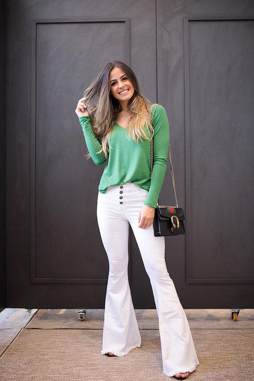 Frente da blusa manga longa soft verde les cloches