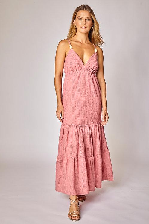 Frente do vestido midi surya rosa les cloches
