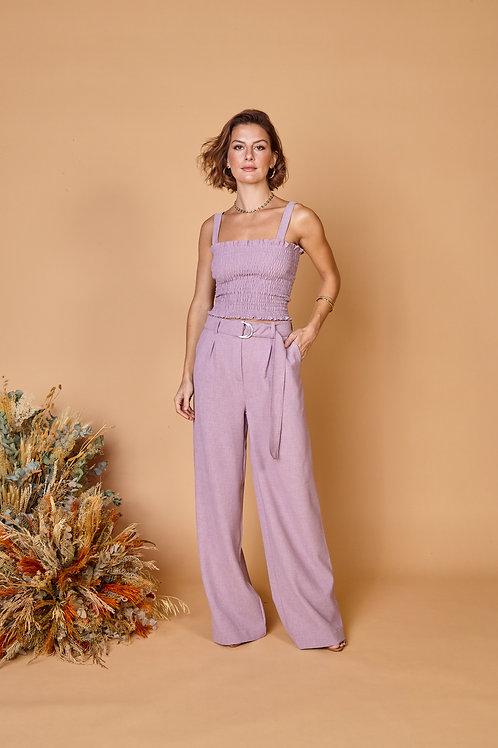 Frente da pantalona teca lilás les cloches
