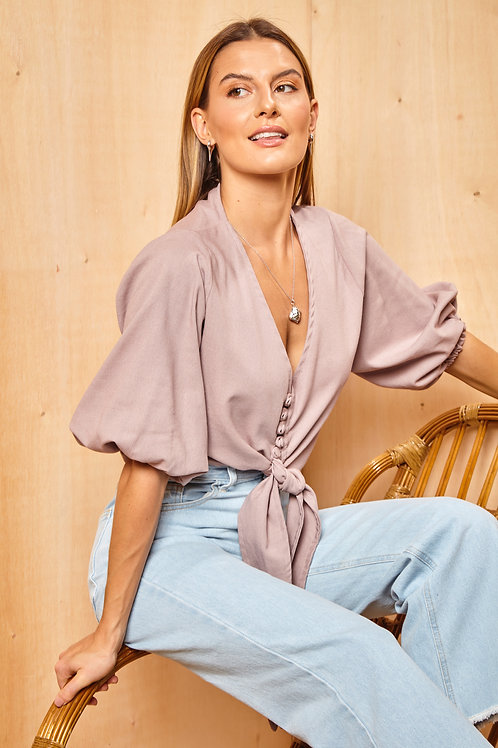 Frente da blusa santorini lilás les cloches
