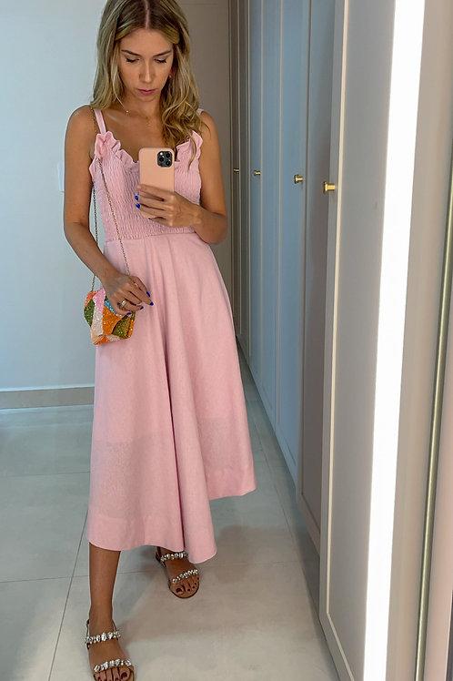 Frente do vestido linho rodado rosa les cloches