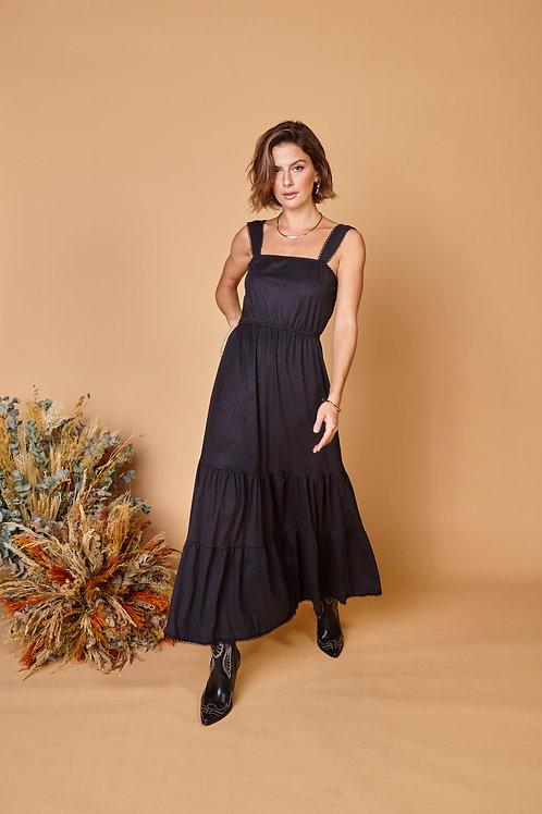 Frente do vestido suede lilly preto les cloches