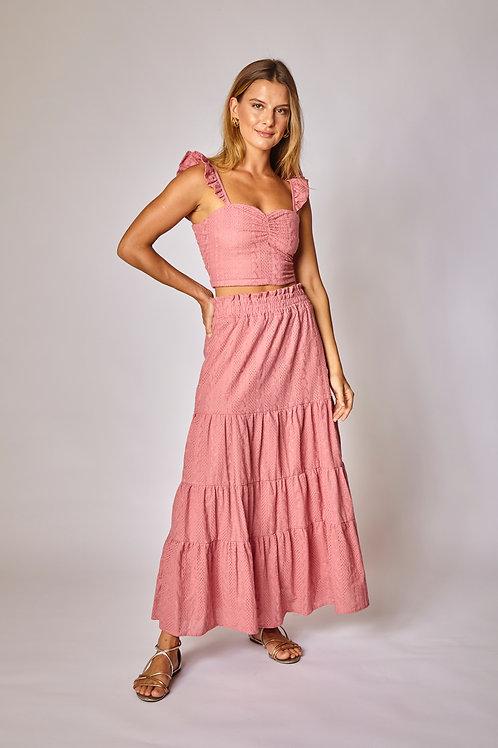 Frente da saia midi surya rosa les cloches