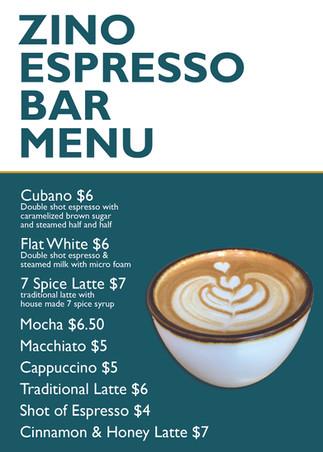 Espresso Bar Menu - Small - with prices.
